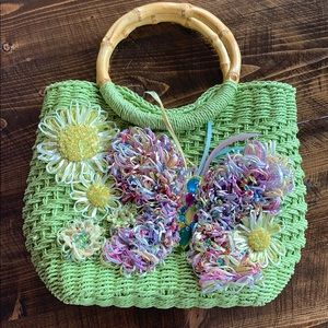Beaded Cappelli Straw Bag with Bamboo Handles